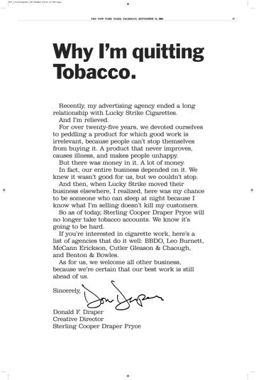 Don Draper - why I'm quitting tobacco