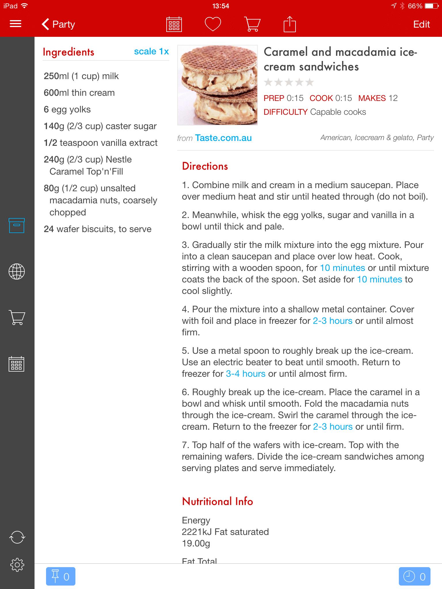 Paprika in app recipe screen shot