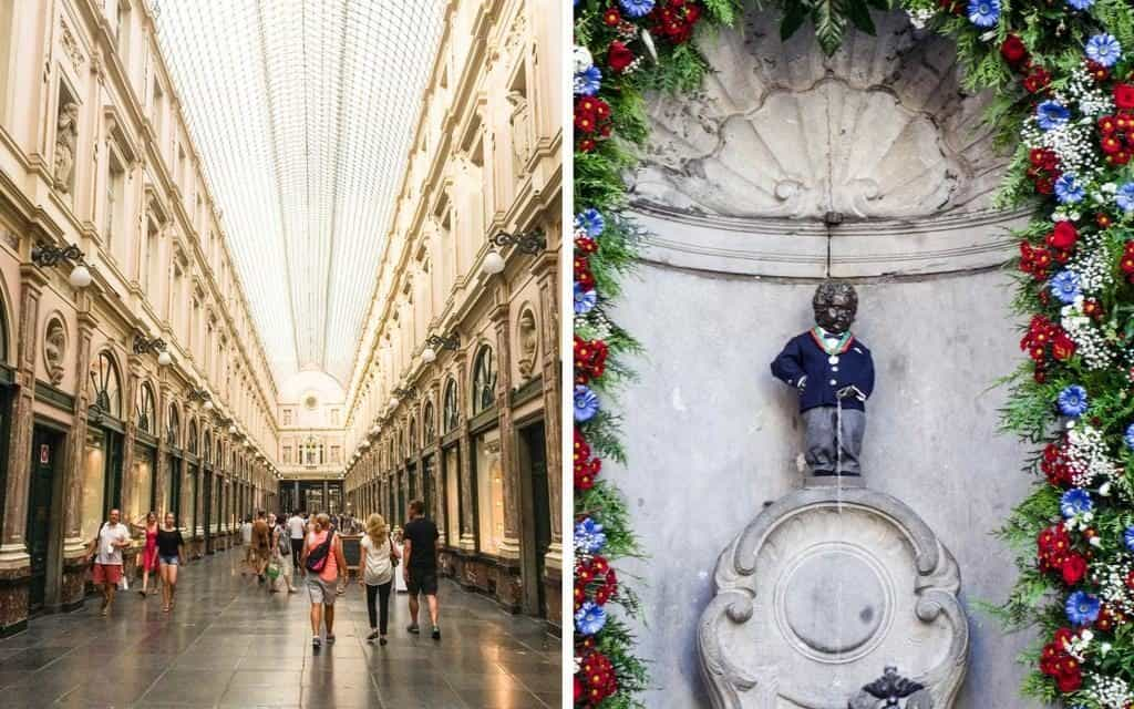 Brussels highlights - elegant arcades and Mannekin Pis