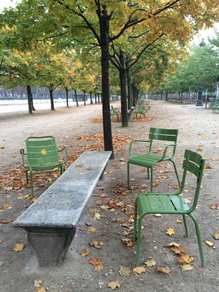 Empty chairs Tuileries gardens Paris