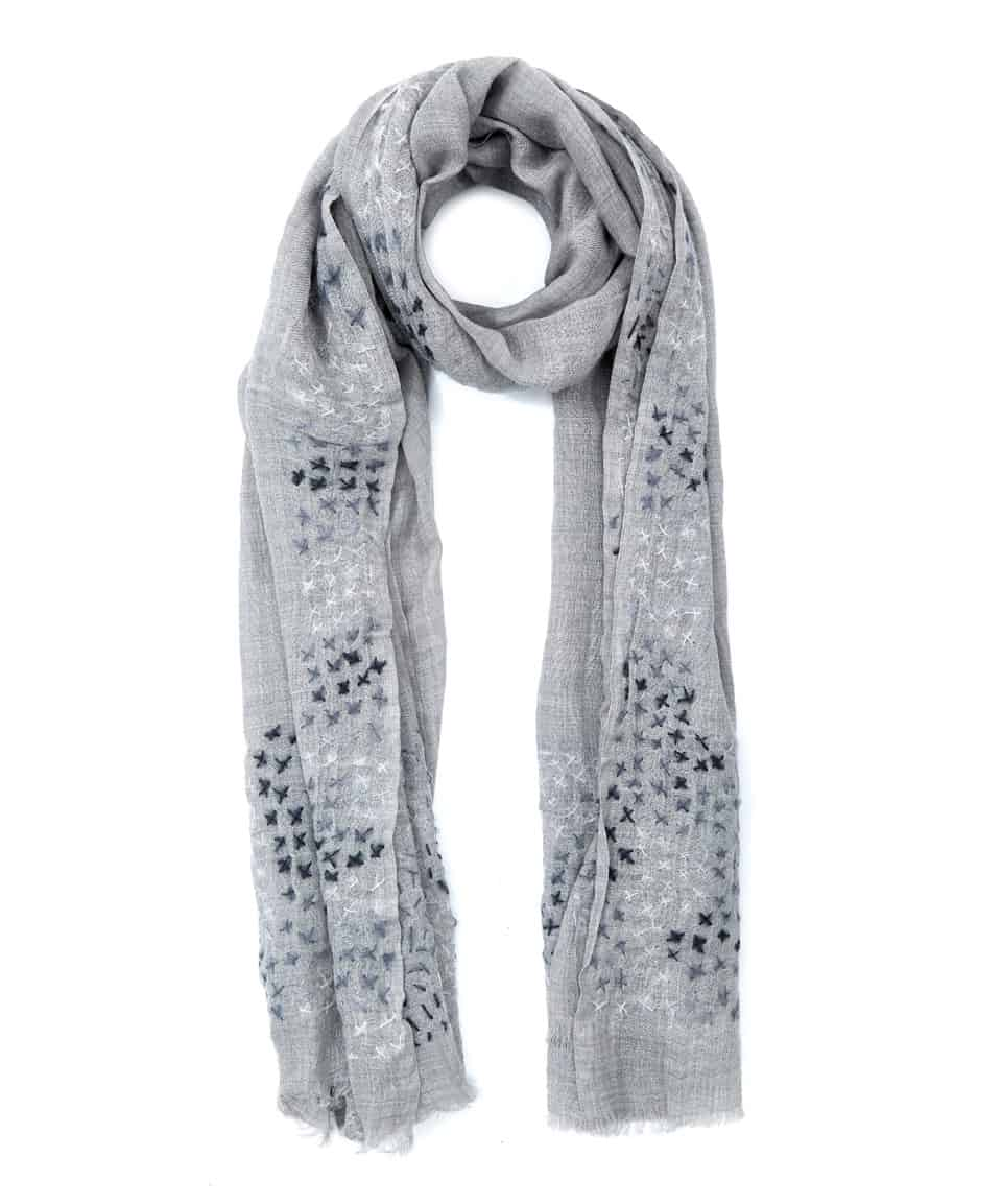 Tilo light grey criss cross wool scarf - shopping for scarves at Liberty