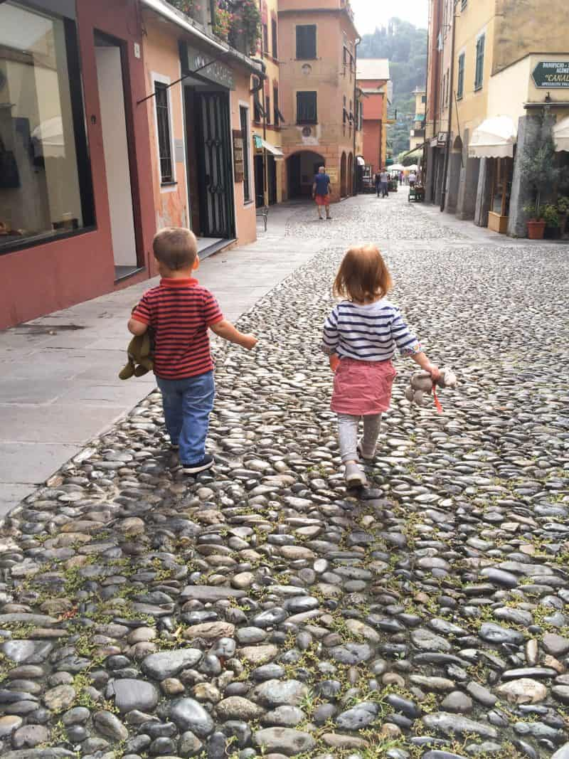 Portofino | Italy - our toddlers strolling the streets of Portofino