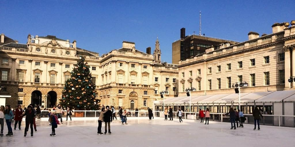 Ice skating in London - Somerset House provides a beautiful backdrop for your attempts to skate