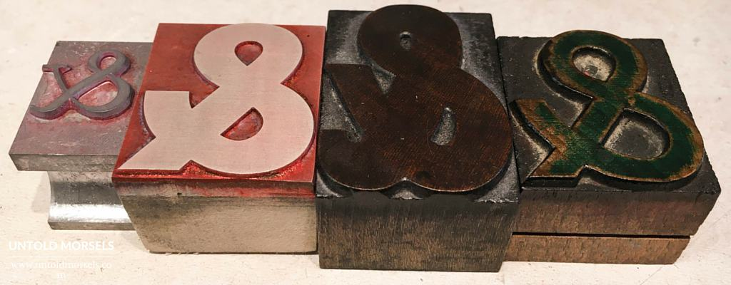 Learning letterpress printing - ampersands