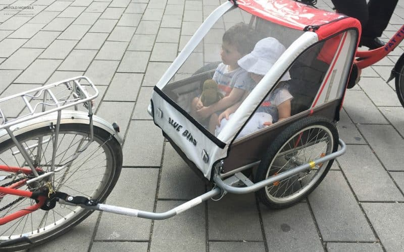 Special child friendly chariot for our bike tour