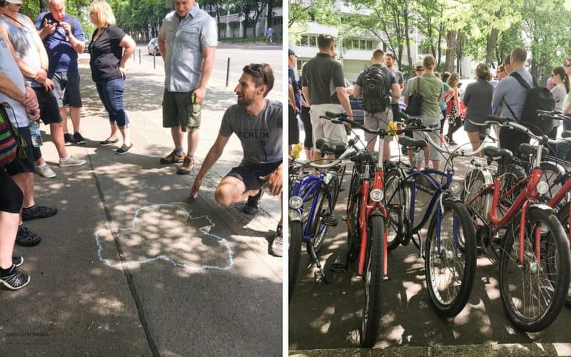 a bike tour of east berlin - listening to our guide explain the geography of Berlin