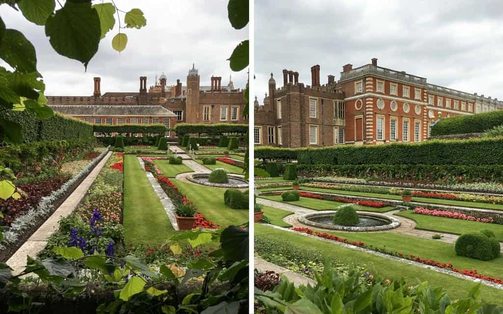 formal gardens and exterior of hampton court