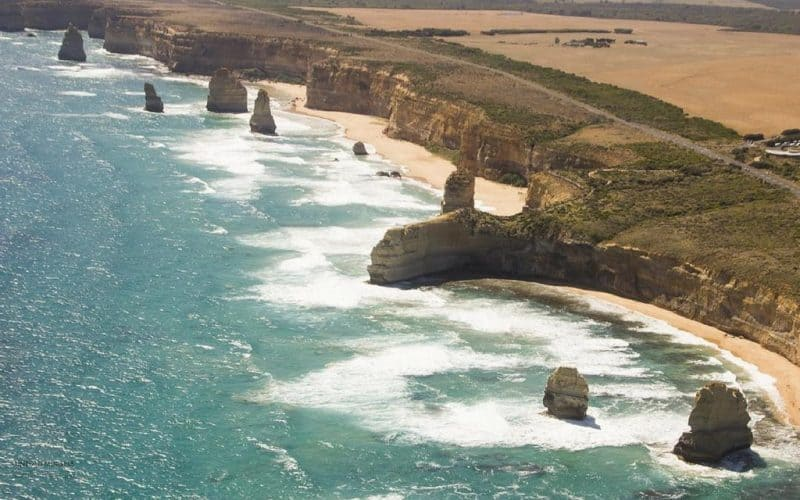 View of the stunning coastline along the Great Ocean Road