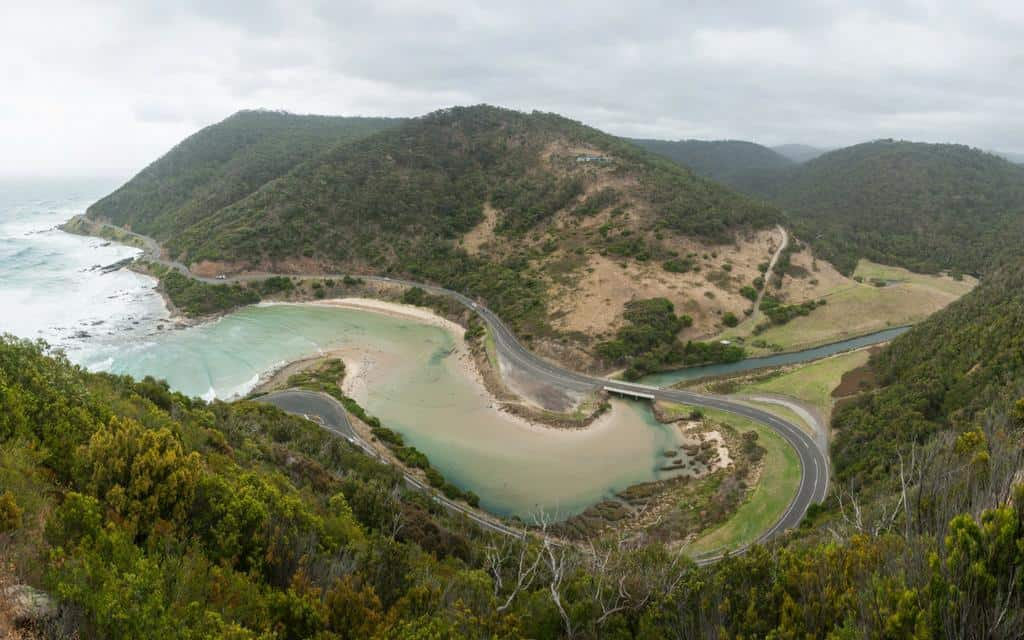 Aerial photo of the great ocean road