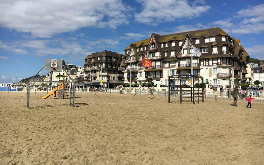 sandy beach at trouville normandy