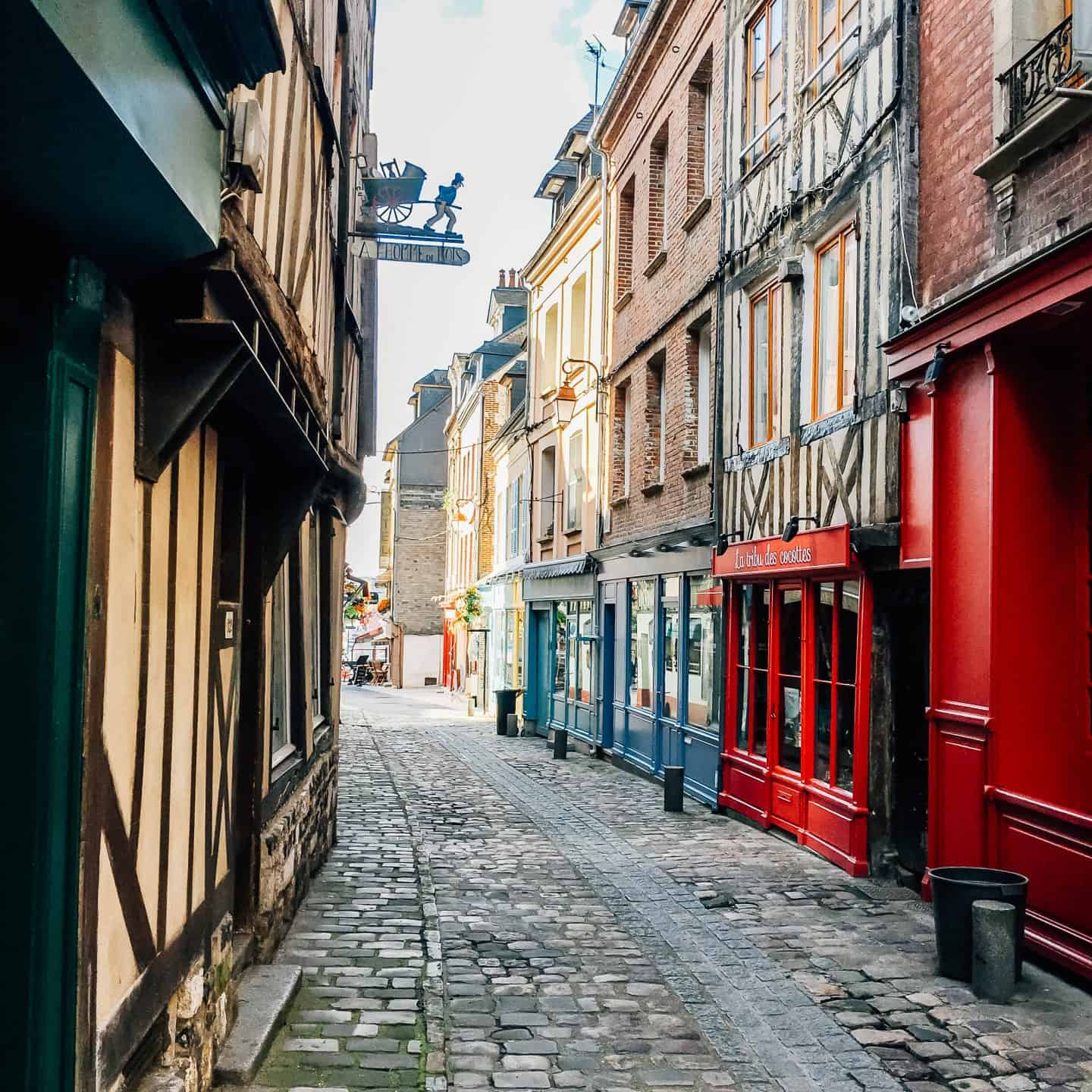streets of honfleur france - normandy itinerary