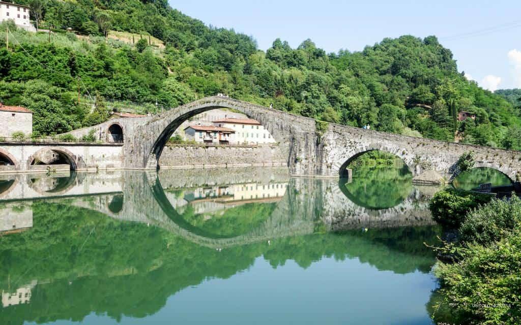 Tuscan hills - the Ponte della Maddalena or Ponte Del Diavolo near Lucca