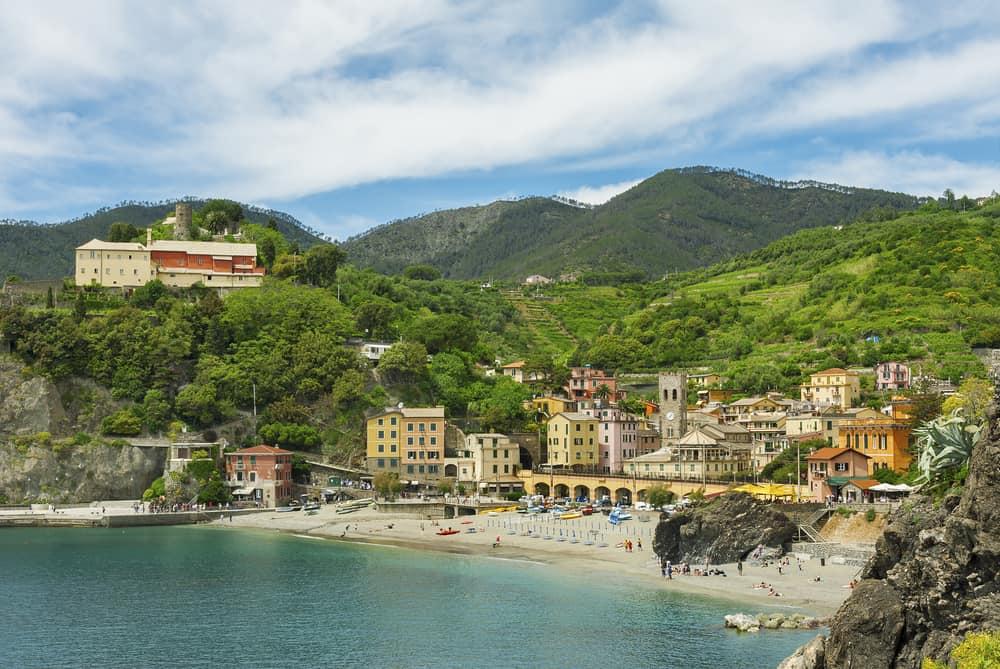 view of beach at monterosso italian riviera