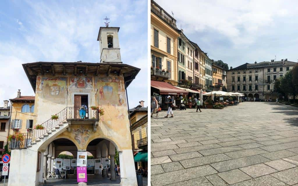 loggia and restaurants of piazza motta lake orta