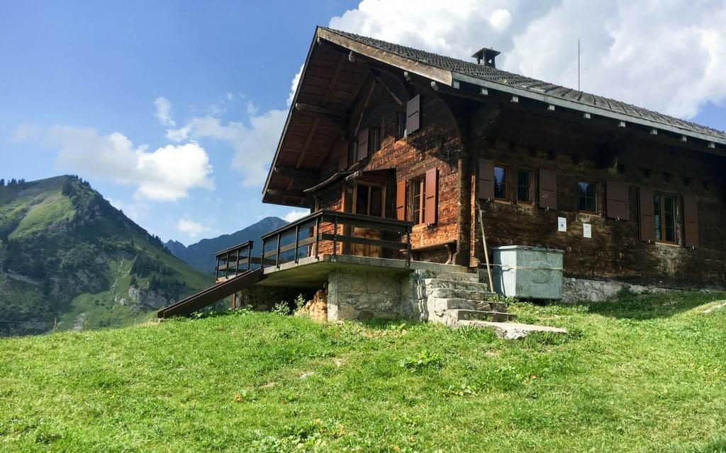 mountain huts and chalets in the swiss alps
