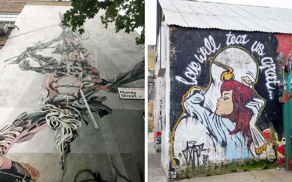 Different styles and favourite pieces of street art from a walking tour of East London