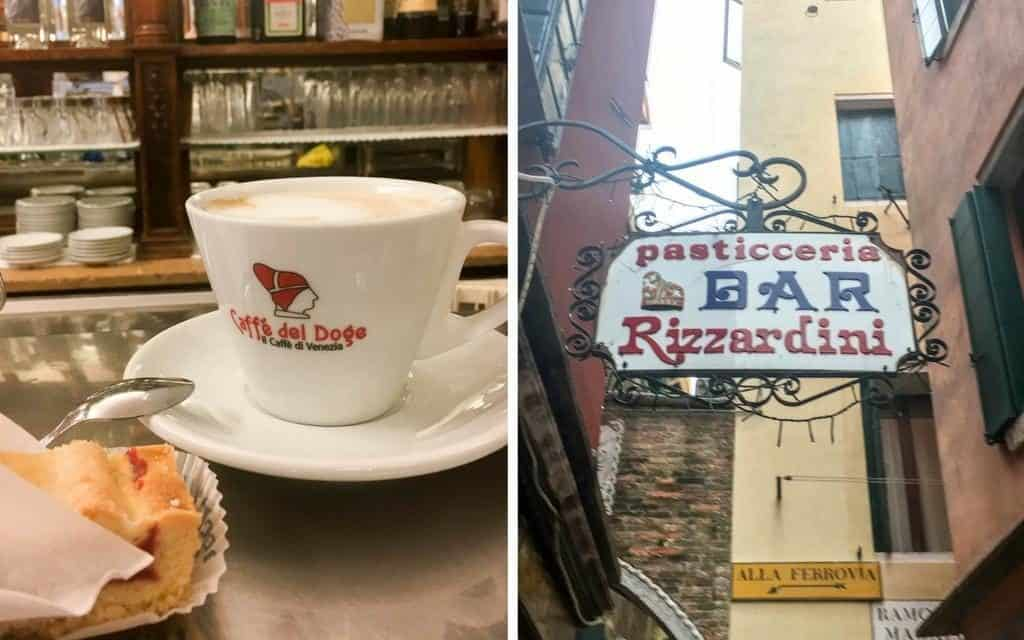Traditional Venetian breakfast of coffee and cake