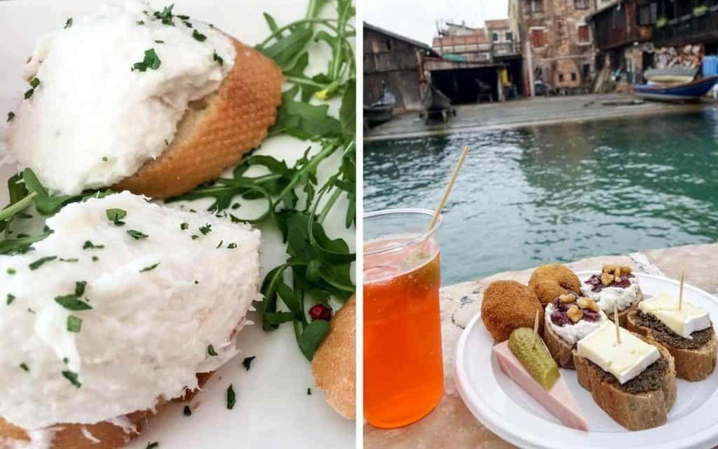 Cicchetti by the canal with a spritz