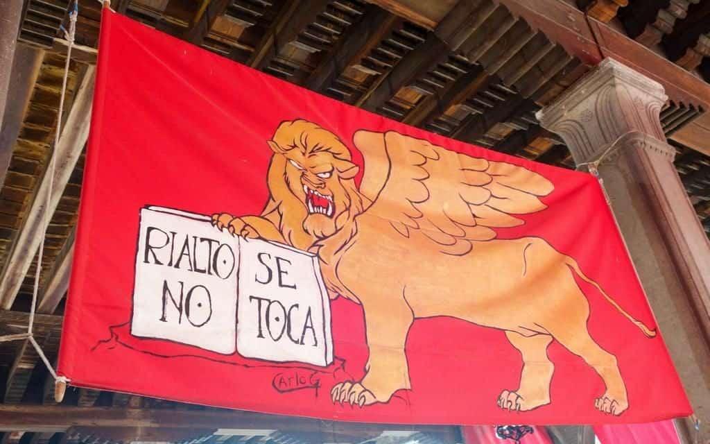 Rialto market Venice - protest flag