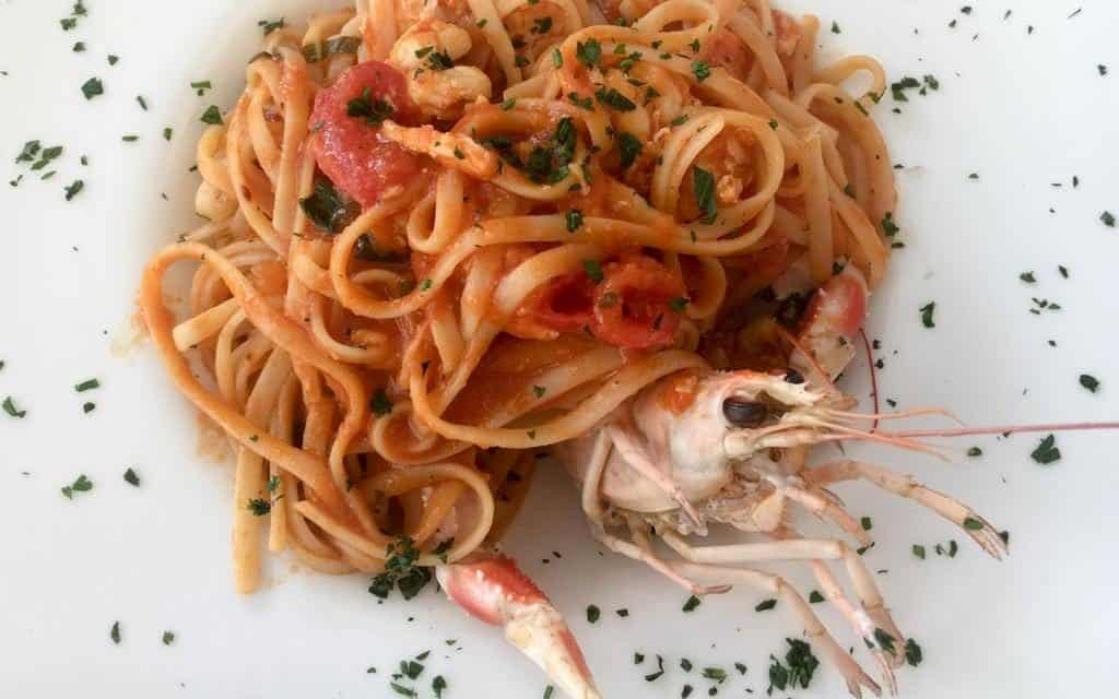 Spaghetti with red sauce and lobster at Osteria al Bacco Venice