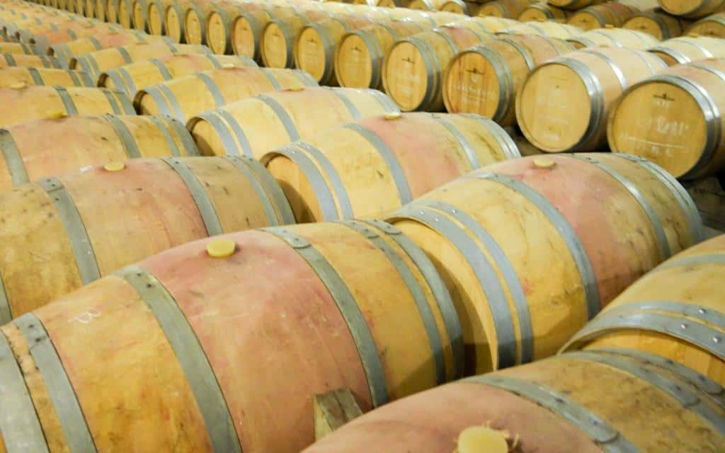 Hundreds of barrels of Bordeaux wine maturing