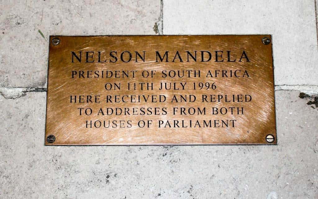 Nelson Mandela plaque Palace of Westminster