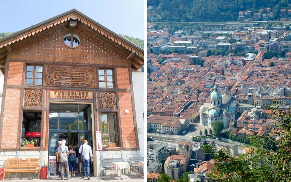 Como funicular and views from Brutante