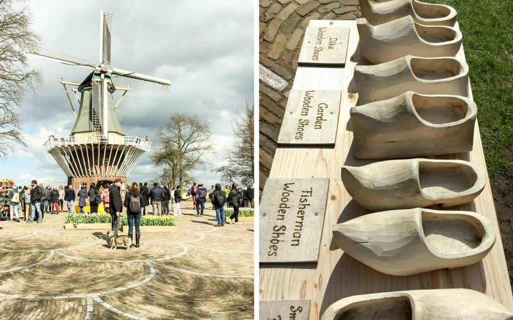 dutch icons windmill and clogs at keukenhof