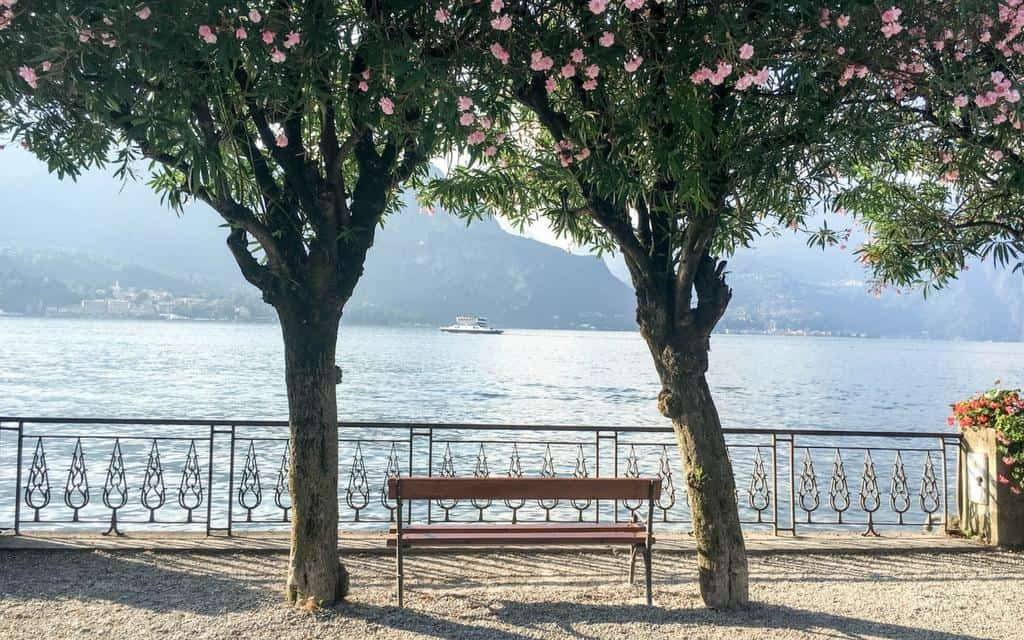 park bench overlooking Lake Como in Bellagio
