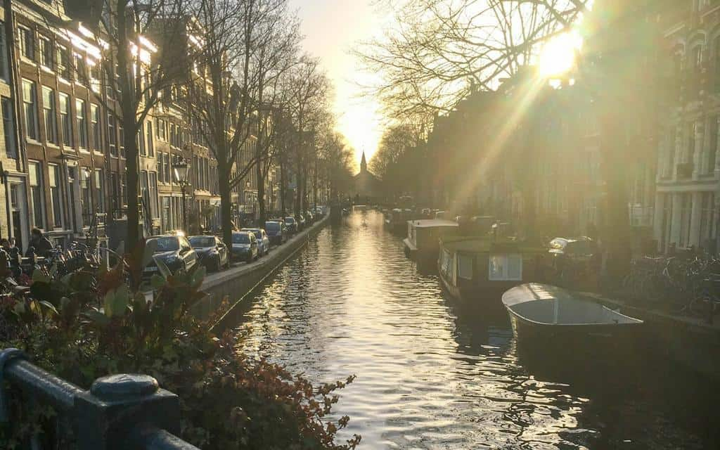 Amsterdam at dusk - spring weekend break in Amsterdam