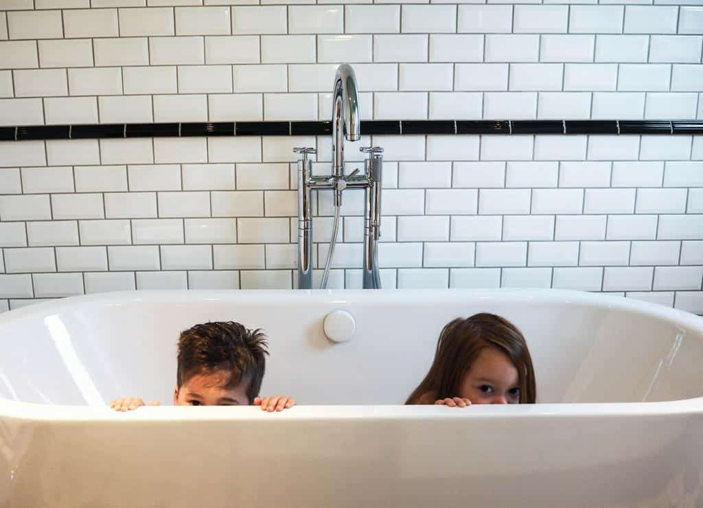 Bathtime at Hotel Adele et Jules - best place to stay in Paris with kids