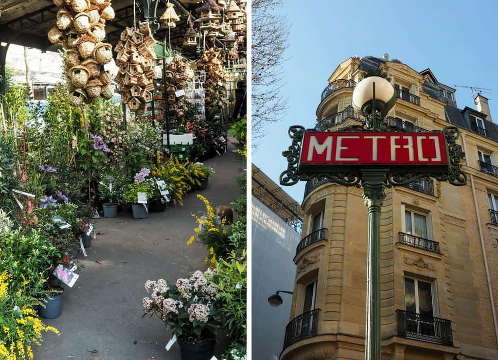 Paris flower and bird market and Metro