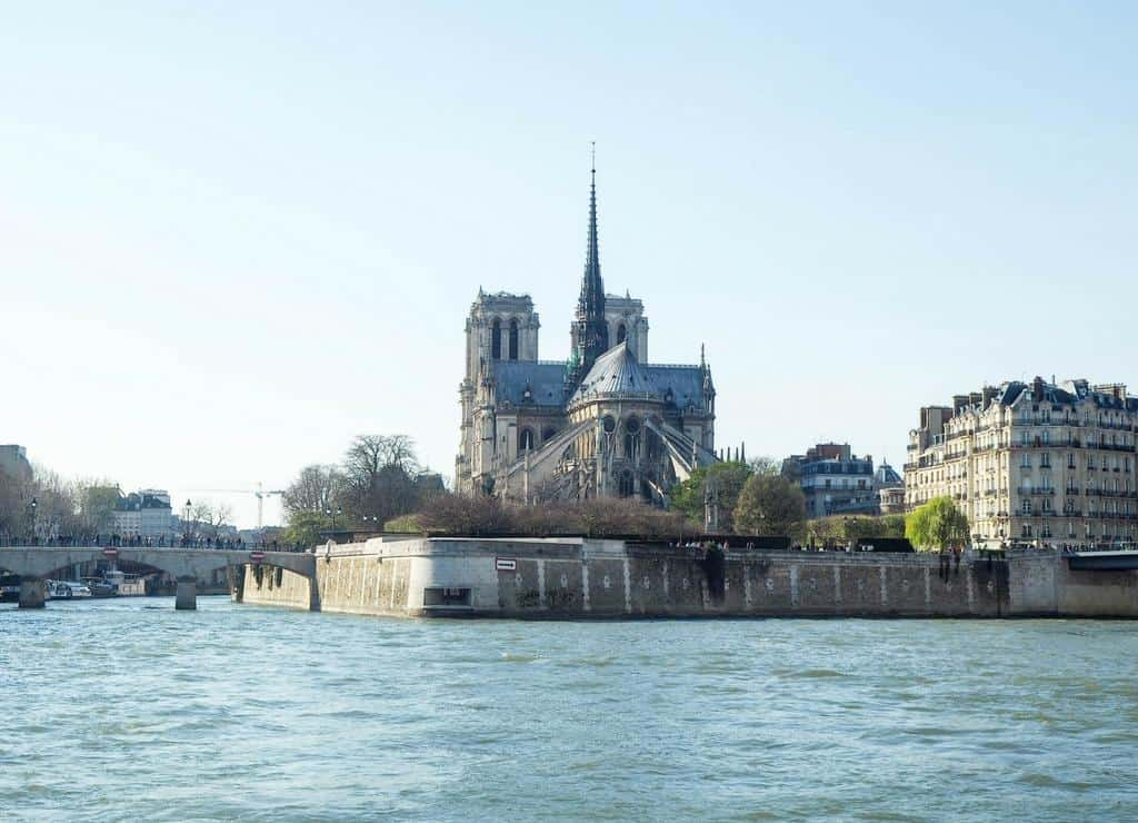 View of Notre Dame from boat cruise on the Seine - paris itinerary with kids