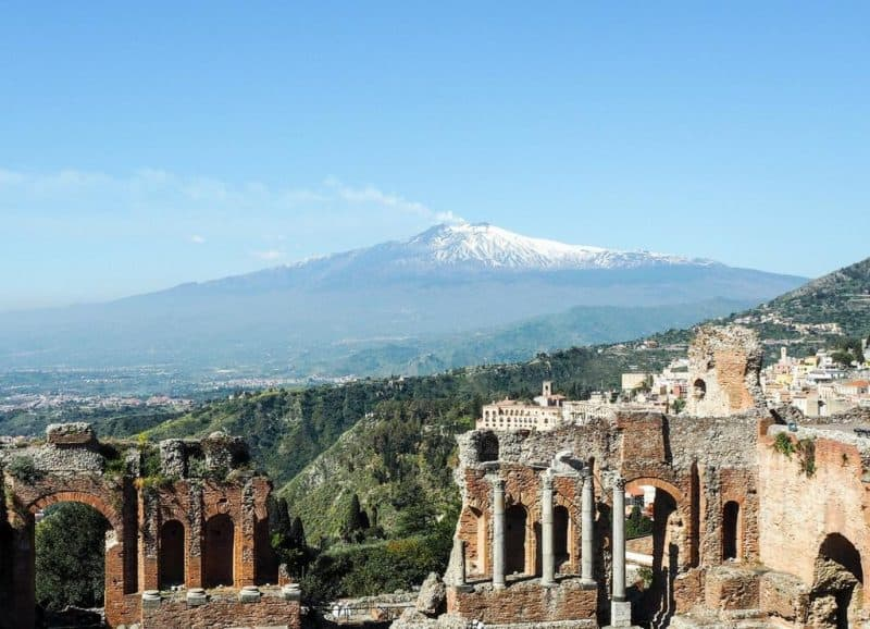 Mount Etna from the Taormina amphitheatre