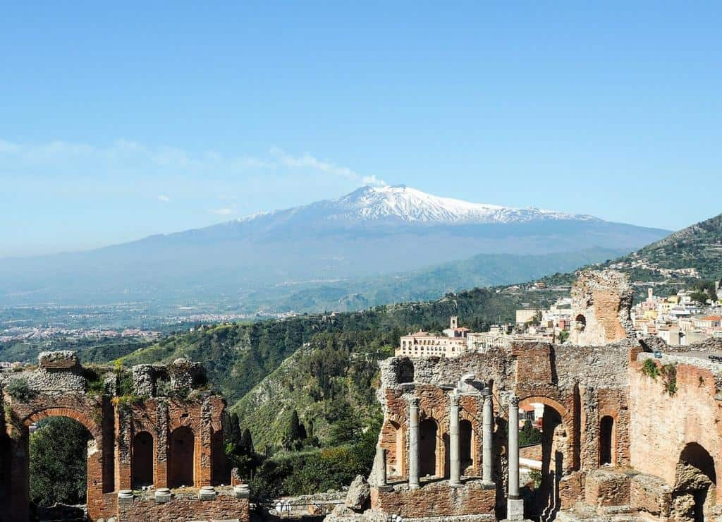 Mount Etna from the Taormina amphitheatre