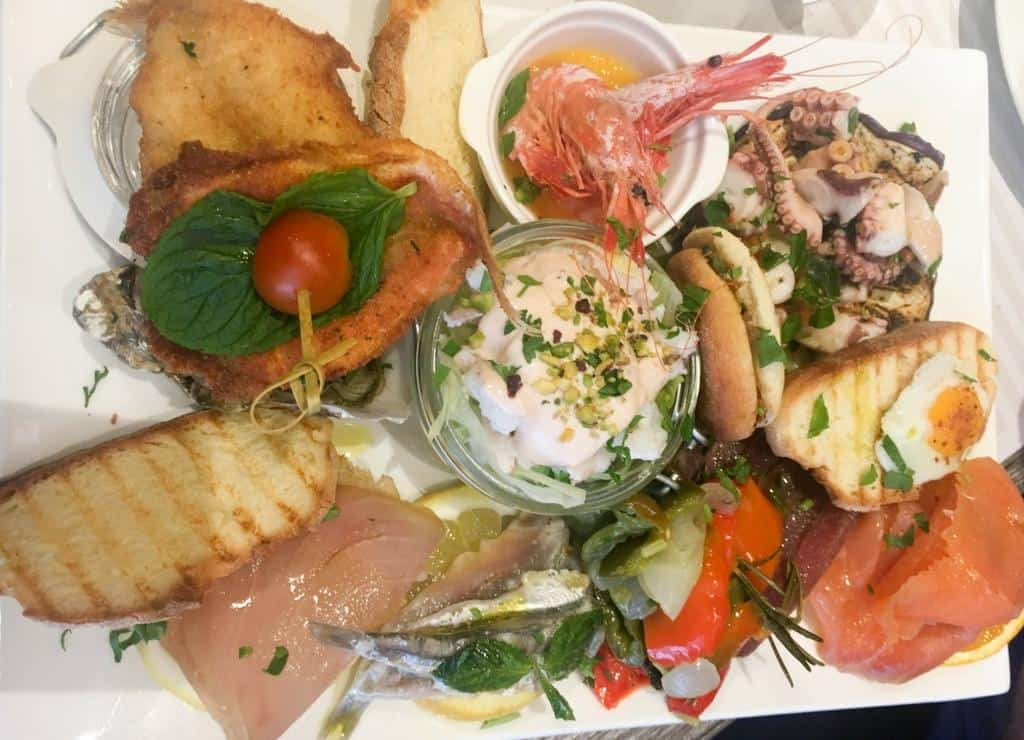 Seafood platter from seafront restaurant in Avola
