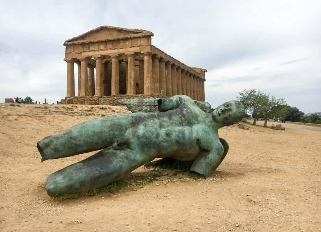 Top 10 things to see in Sicily - Temple of Concordia and fallen Icarus at Valle dei Templi Agrigento Sicily