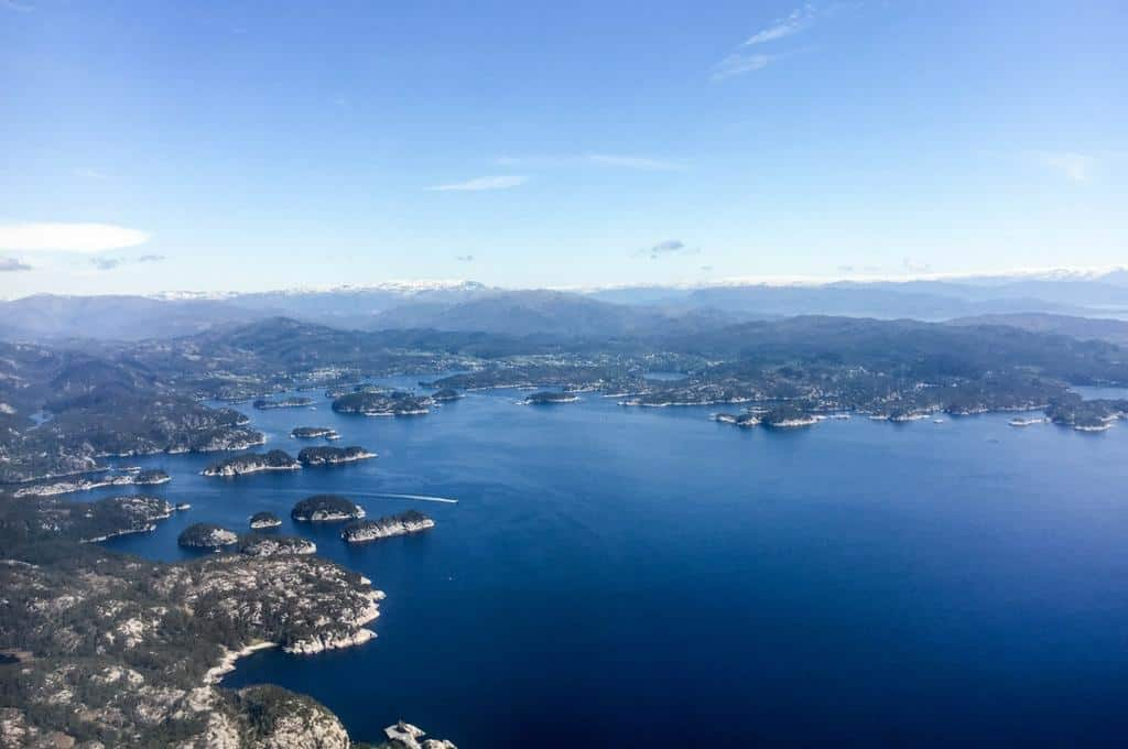 Bergen and fjords from the air