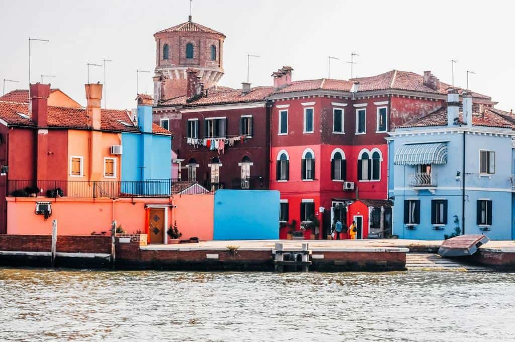 arriving in Burano Venice by vaporetto