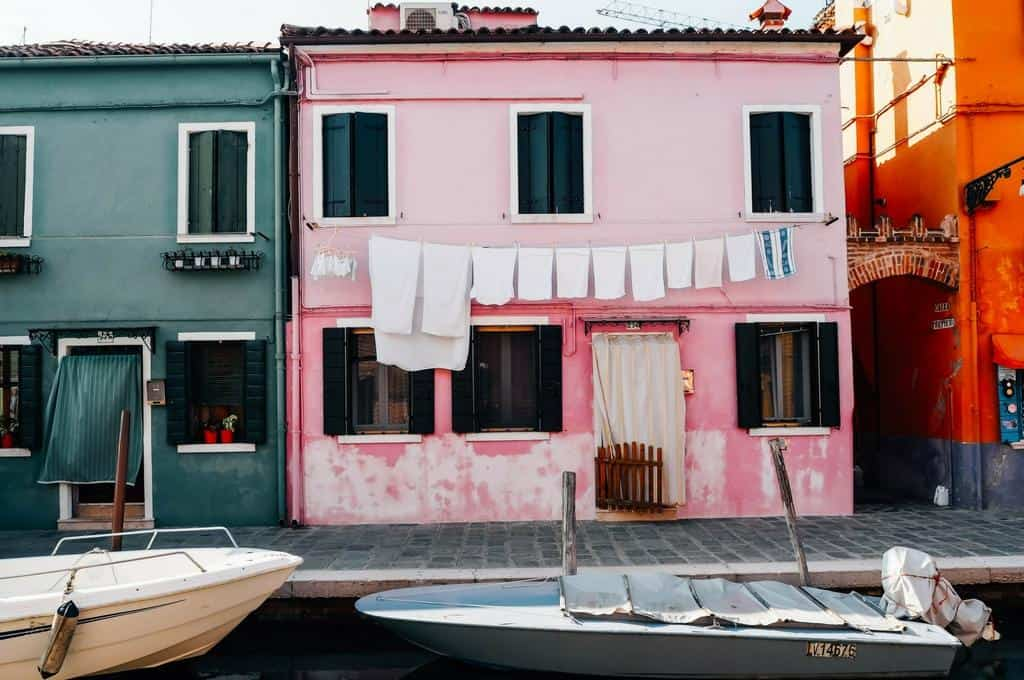 Burano pink house with washing