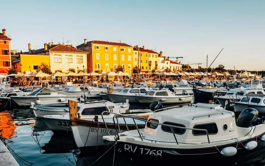 sunset at rovinj harbour