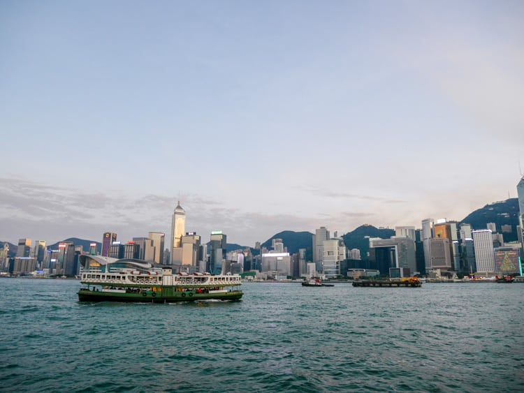 victoria harbour with star ferry hong kong - Laugh Travel Eat