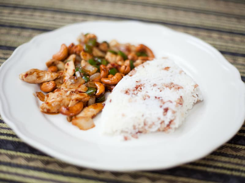 thai chicken with cashews stirfry - thailand traditional food