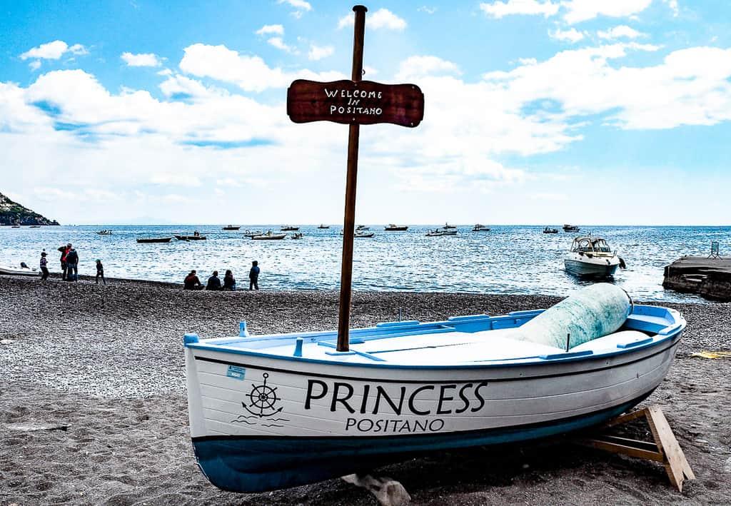 boat positano coast italy